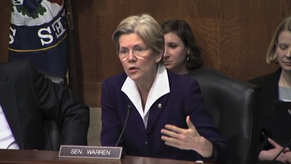 Sen. Elizabeth Warren hypothesizes that the U.S. minimum wage would be $22 in 2012 if worker pay had kept pace with production. (Photo: YouTube / Senator Elizabeth Warren)