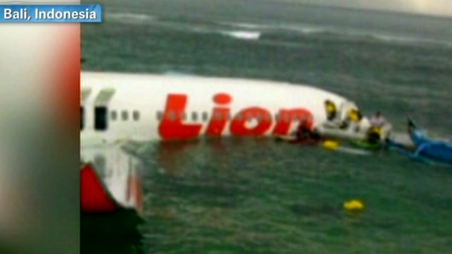 The domestic passenger flight overshot a runway in Bali, Indonesia, officials said (Photo: CNN)