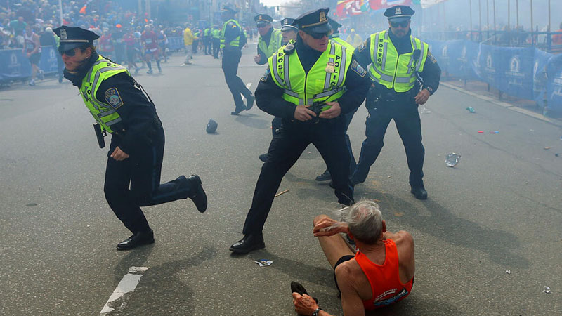 Boston.com sports producer Steve Silva was covering the Boston Marathon when madness broke out right in front of him. (Photo: MGN Online/Boston Globe Sports)