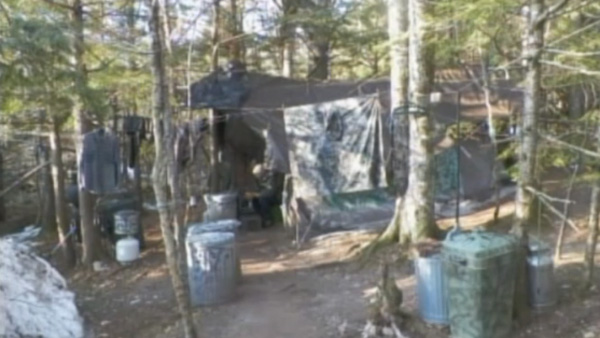 A photo shows the tent that Christopher Knight lived in for 27 years, even during Maine's harsh winters. (Photo: CNN)