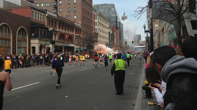 Blasts near the finish line of the Boston Marathon killed two people and injured more than 20 others Monday, Boston police said.