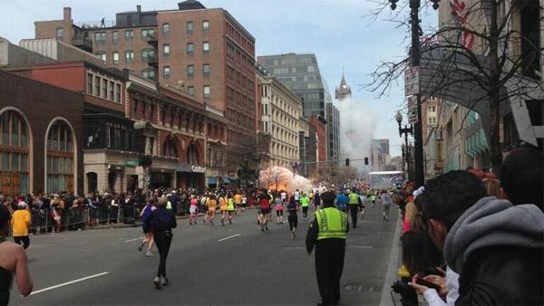 An explosion caught on camera near the Boston Marathon finish line on April 15, 2013 (Photo: Twitter / @907RAVFM)