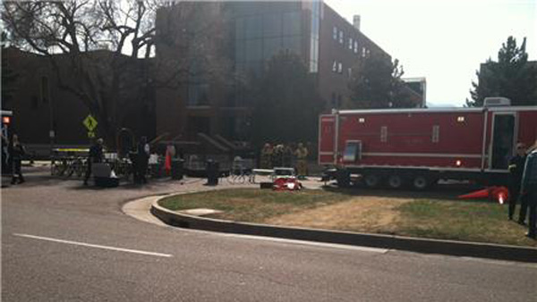Colorado Springs Fire respond to a hazmat situation on the Colorado College campus on April 10, 2013 (Photo: KXRM)