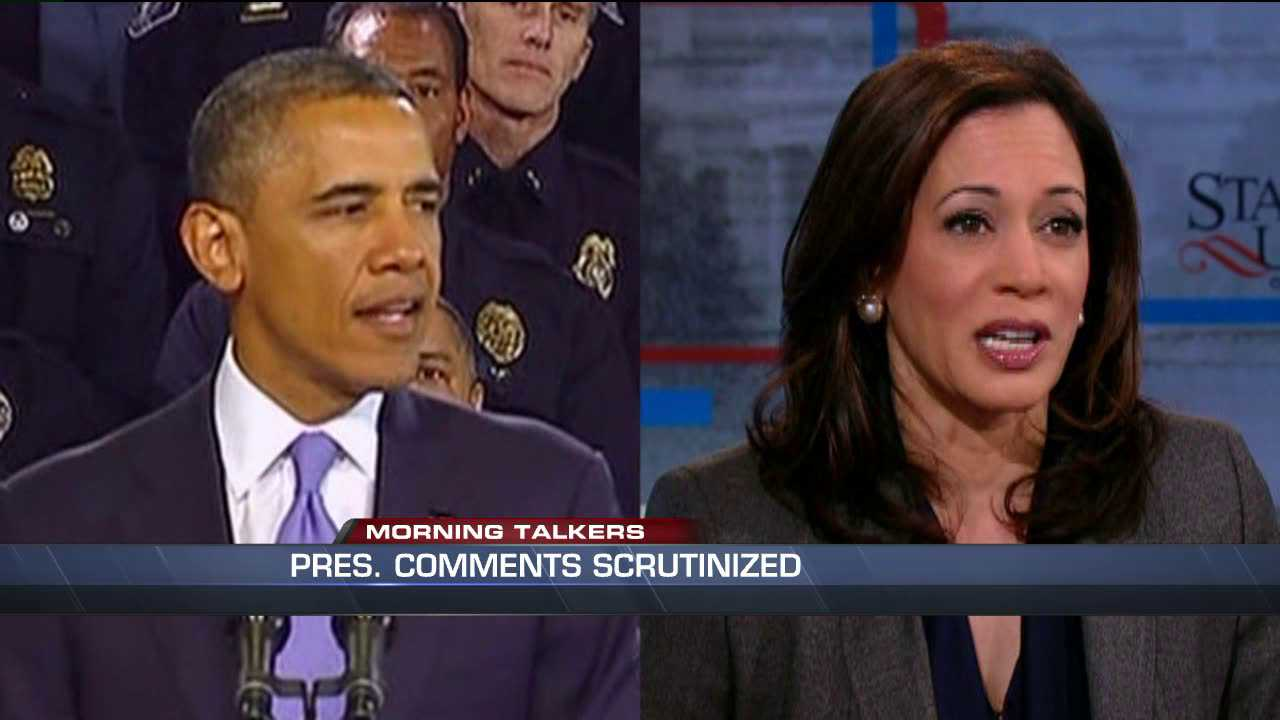 President Obama has seen some criticism for calling California attorney general Kamala Harris, right, good looking.