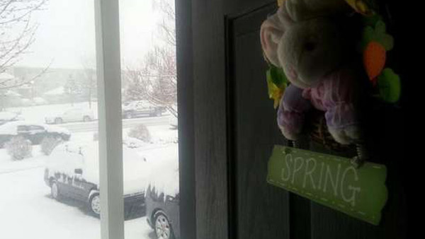 """A Fort Collins resident stares out at """"Spring"""" behind his front door as the city was blasted with over 7 inches of snow on April 15, 2013. (Photo: Facebook / Steve Kittrell)"""