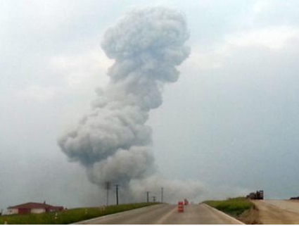 Fertilizer plant explosion in West, Texas. Photo from KWTX/Twitter.com. Aril 17, 2013