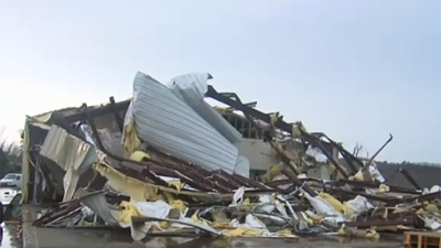 A tornado that touched down in Arkansas' Van Buren County ripped the Botkinburg Foursquare Church to shreds. (Photo: CNN)