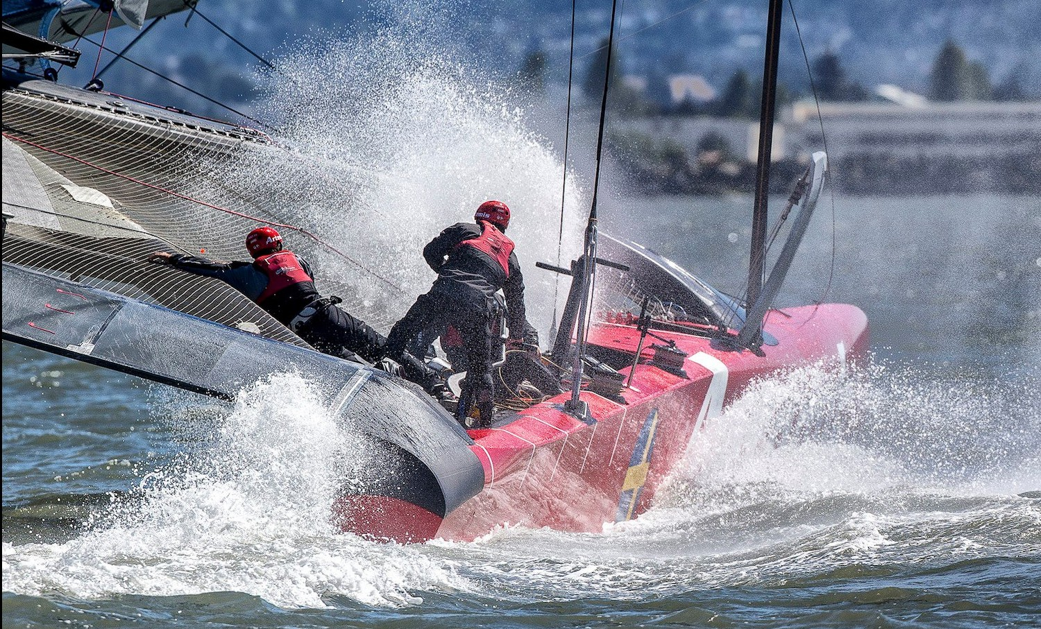 One crew member died when a Swedish boat training for the America's Cup sailboat race capsized Thursday in San Francisco Bay. (Credit: America's Cup Facebook page)