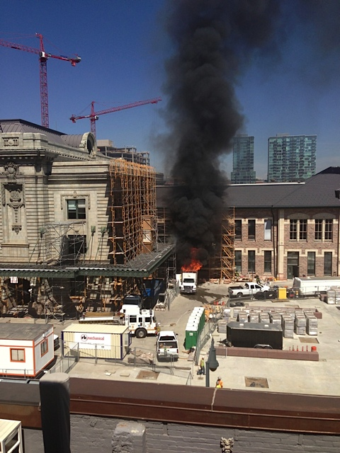 A truck went up in flames in the Denver Union State construction site on the morning of May 17, 2013. (Photo: John Carlen)