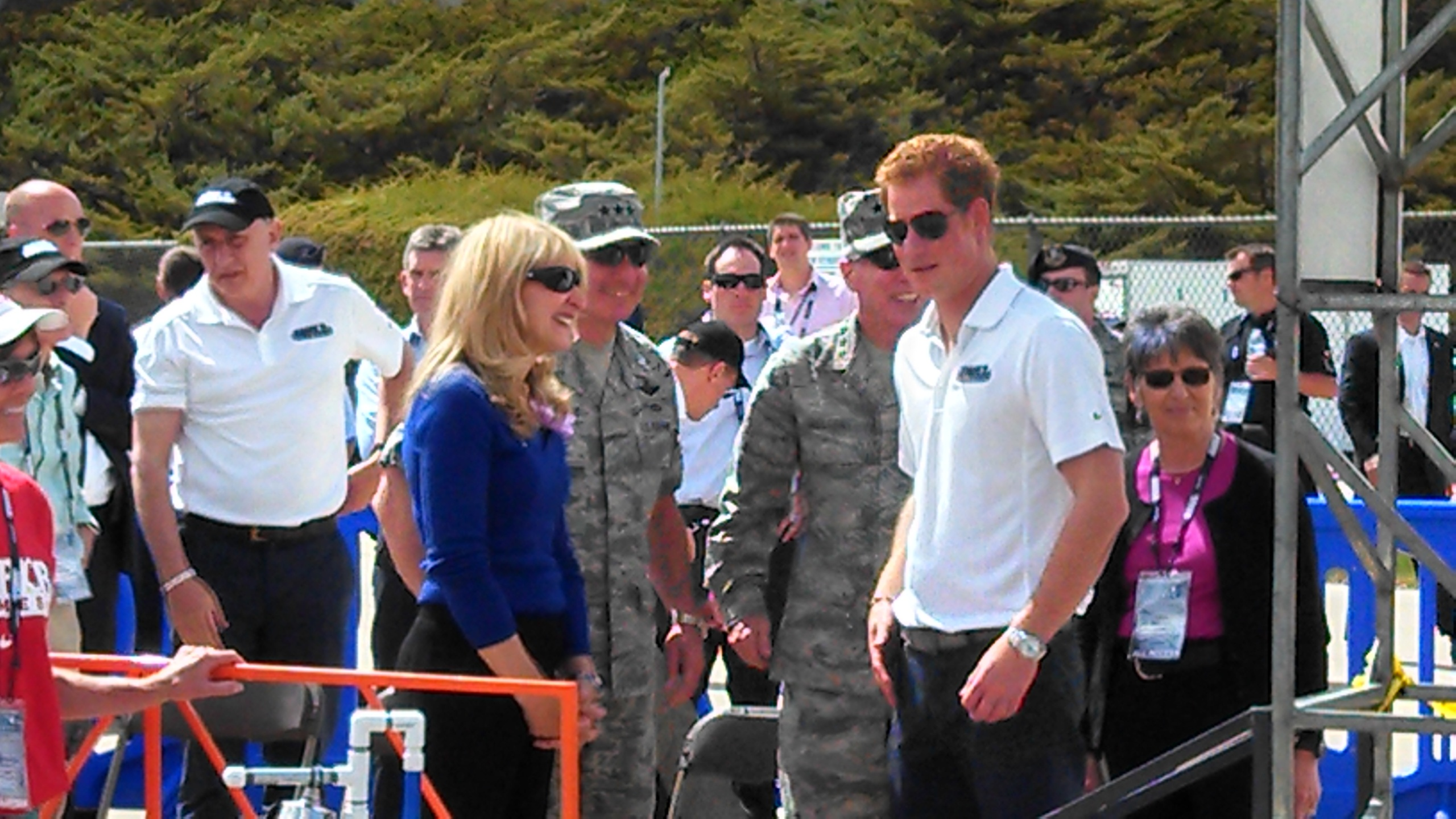 Prince Harry spoke with athletes, media and others Sunday during the Warrior Games in Colorado Springs. (Credit: Greg Nieto)