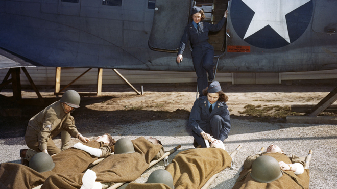 Seventeen flight nurses, all of whom had trained at the School of Air Evacuation at Bowman Field, Ky., were among the more than 500 women who died in service during World War II. (U.S. Air Force photo)