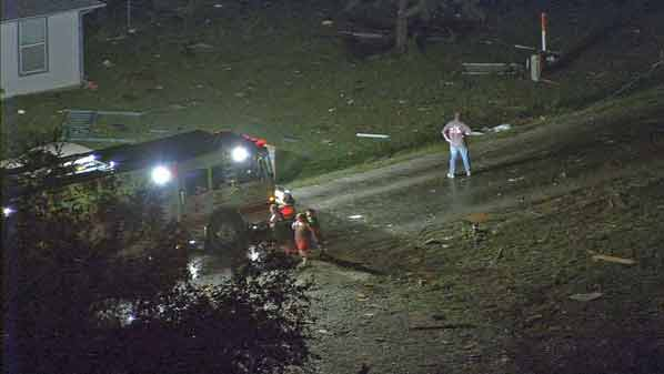 Granbury, Texas tornado damage. Photo: WFAA-TV via Twitter