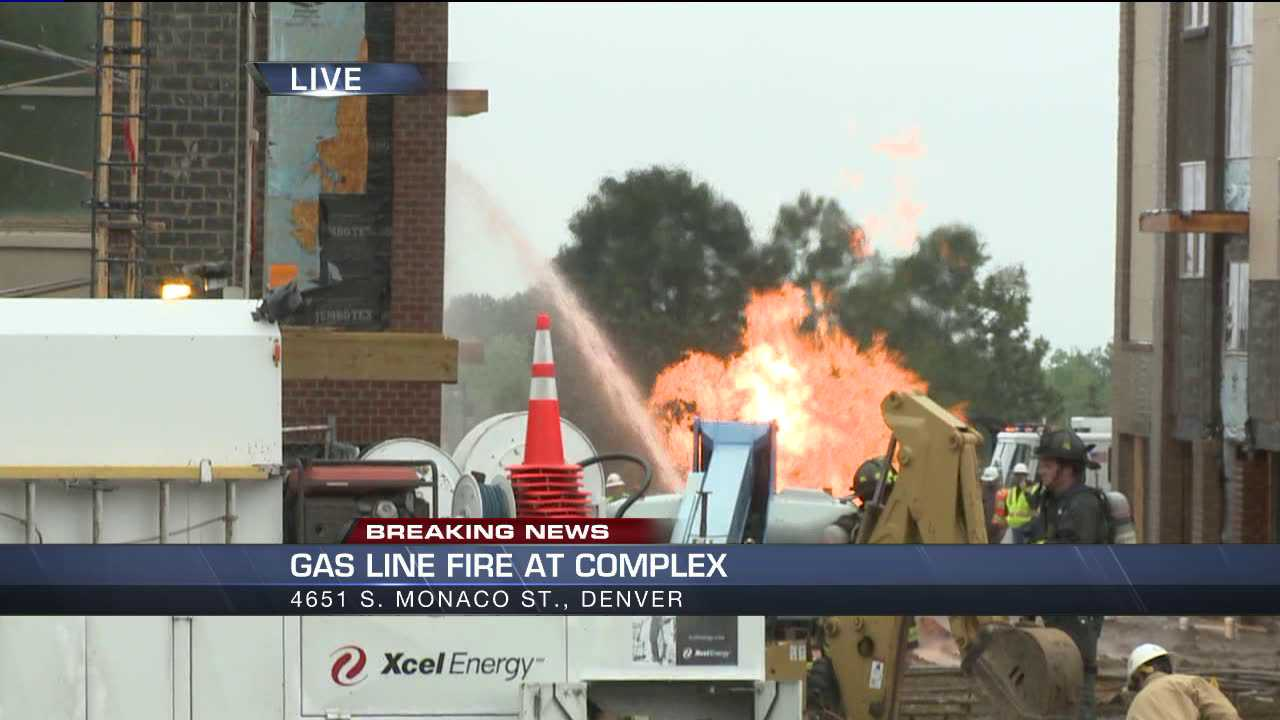Flames could be seen shooting into the air from a gas line break in southeast Denver on the morning of June 5, 2013.