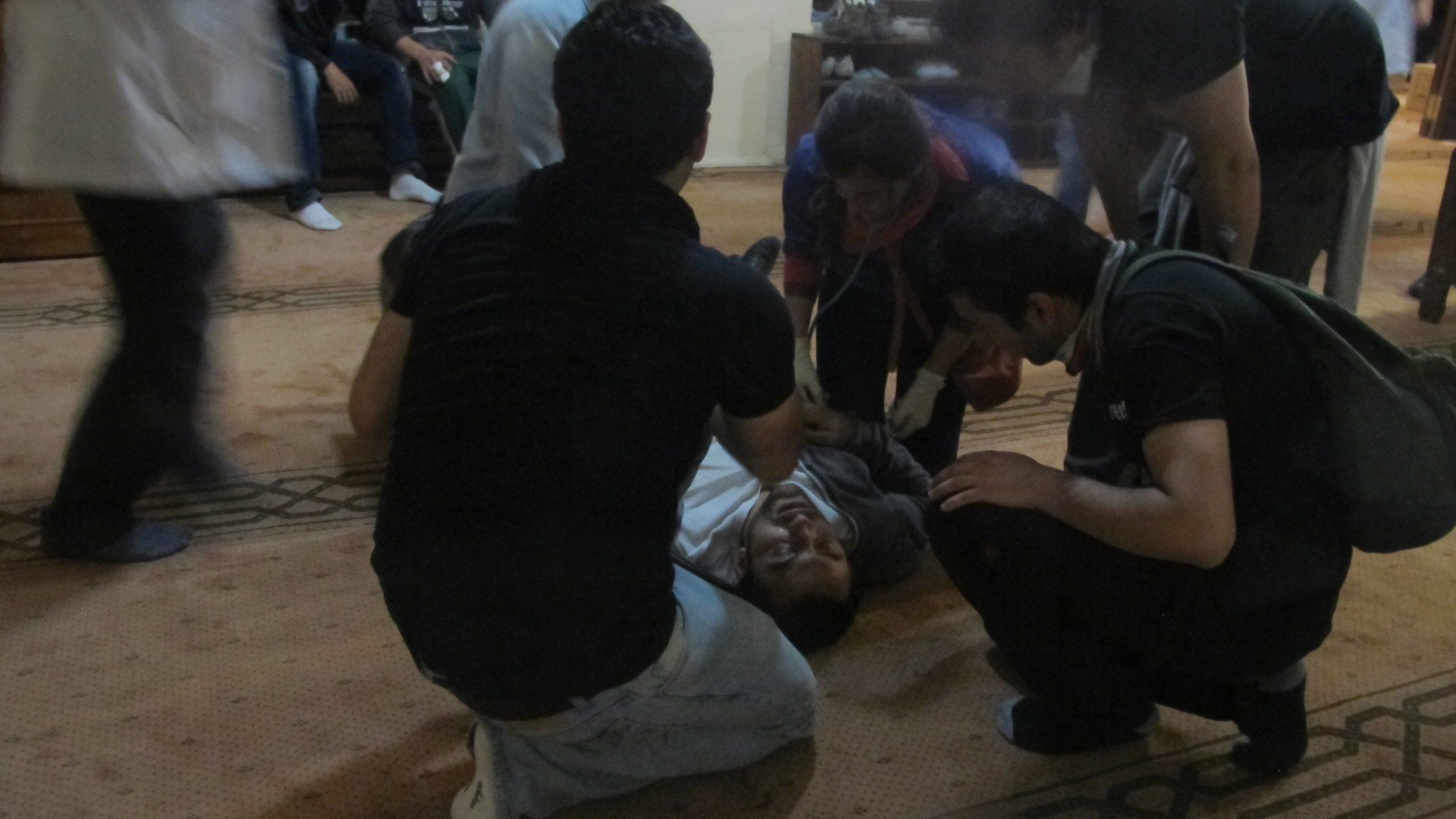 Protesters injured during demonstrations receive ad hoc medical treatment in Instanbul, Turkey on Sunday. (Credit: CNN)