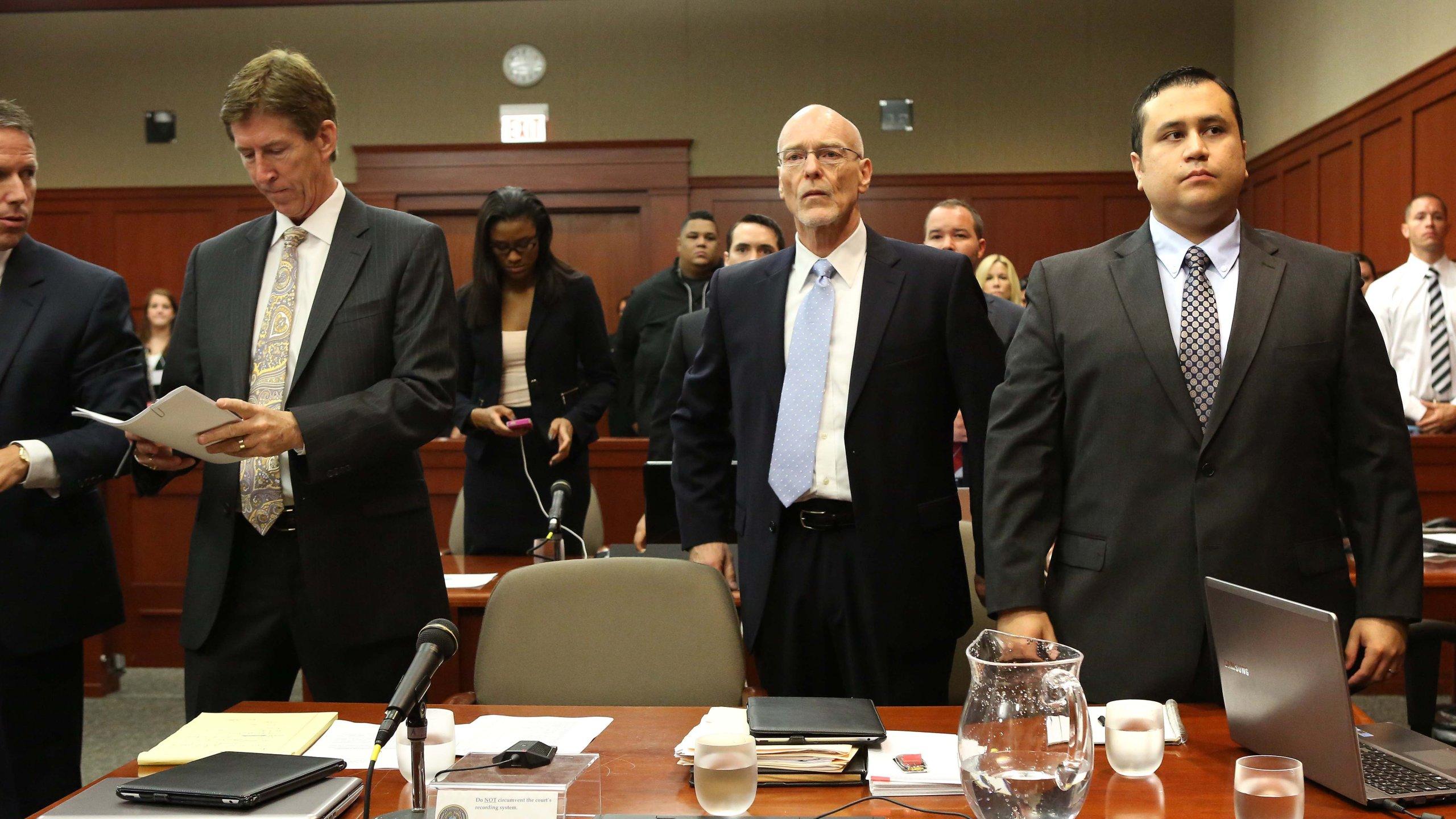 George Zimmerman watches the judge arrive in Seminole circuit court in Sanford, Fla., Monday. (Credit: CNN)