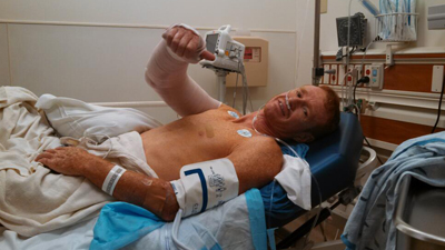 Richie Cunningham tweeted this photo from the hospital after his accident on July 4, 2013 (Photo: Twitter)