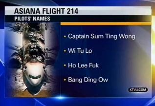 KTVU read this list of fake names on a broadcast, claiming that they were the names of the flight crew at the helm of the 777 that crash-landed in San Francisco on July 6, 2013. (Photo: CNN)