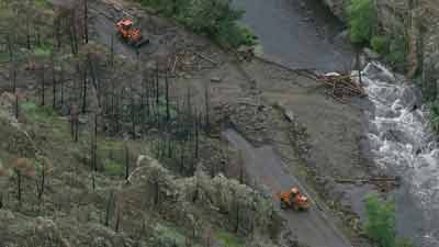 Mudslide closes Highway 14 near Ted's Place in northern Colorado. Heavy rain fell on the High Park Fire burn scar. July12, 2013