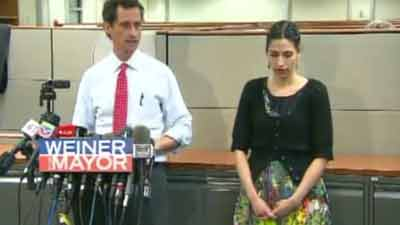 Anthony Weiner with his wife, Huma Abedin