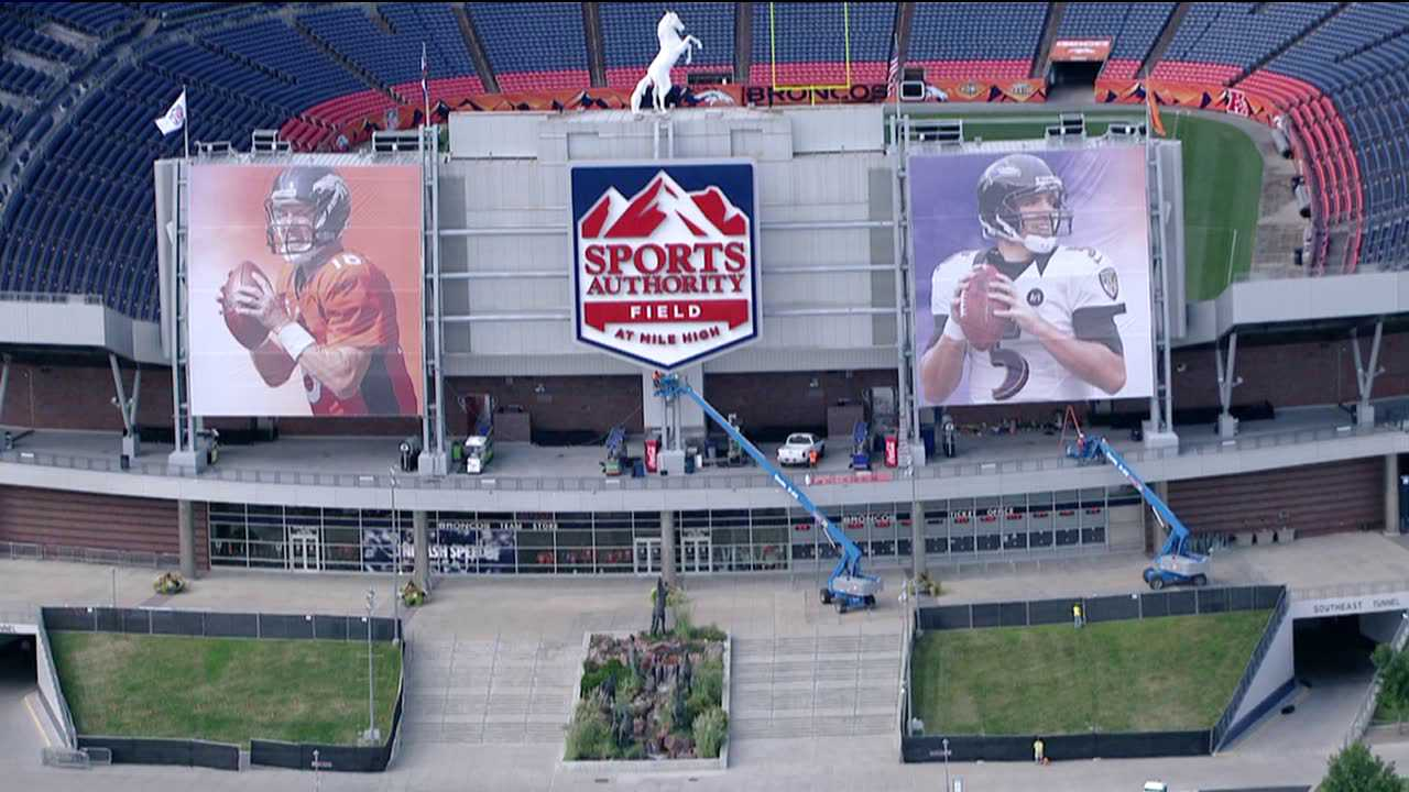 Many Denver Broncos fans were upset that a massive poster of Baltimore Ravens quarterback Joe Flacco was hanging on their home stadium ahead of the team's rematch with the defending Super Bowl champions on Sept. 5, 2013.