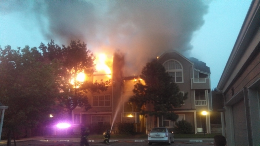Flames engulf an apartment building at Jewell and Depew in Lakewood, Colo. Photo by: Zach Engen August 16, 2013