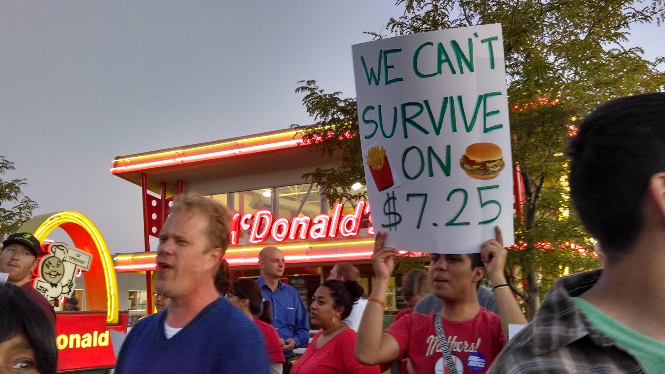 Fast food workers go on strike outside a Northglenn McDonald's on Aug. 29, 2013. (Photo: Shaul Turner)