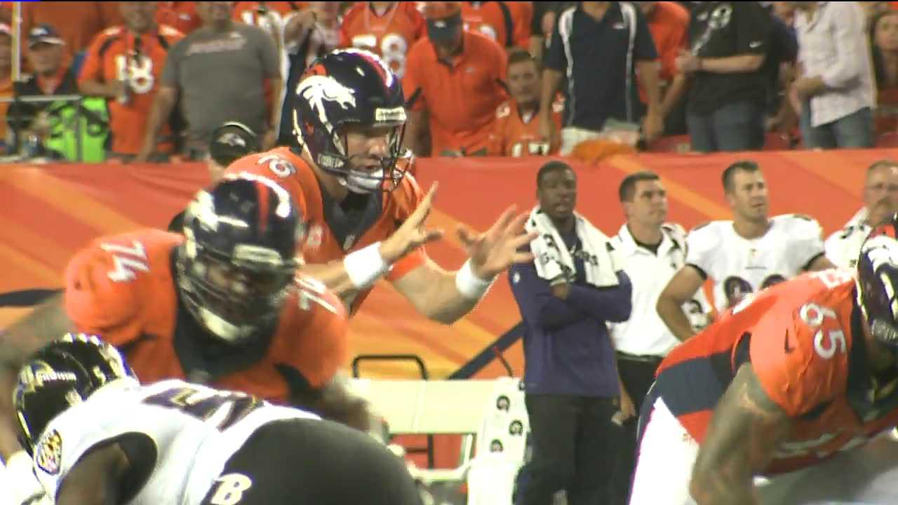 Peyton Manning waits for snap. September 5, 2013