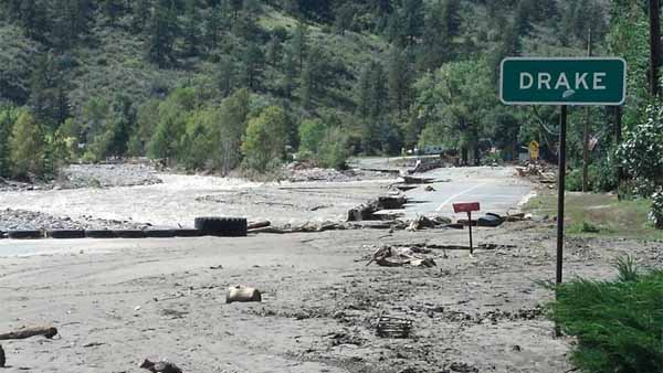 A washed out road that typically leads into the town of Drake in Larimer County seen on Sept. 18, 2013. (Photo: Facebook / Justin Smith)