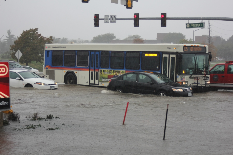 Havana and Alameda was one of the hardest hit intersection of Aurora on Sept. 13, 2013.