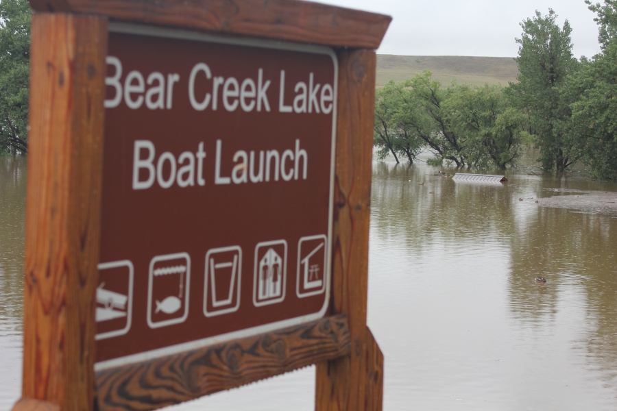 The Bear Creek Lake Boat launch was completely under water on Sept. 13, 2013.