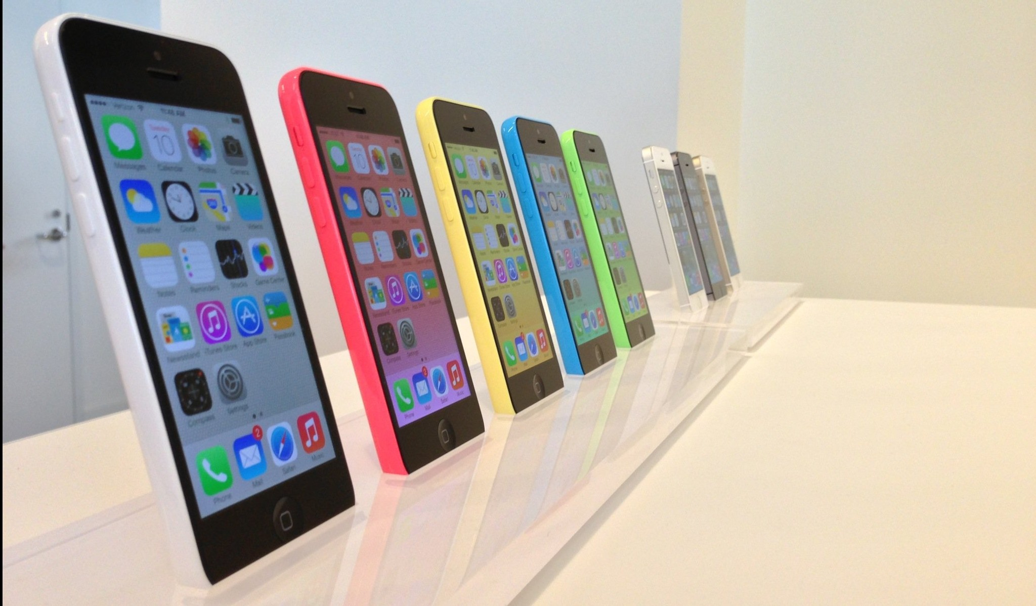 The newest iPhone offerings from Apple, Inc. are pictured following the tech giant's event in Cupertino, Tuesday, September 10th, 2013. Apple unveiled the iPhone 5S and iPhone 5C.