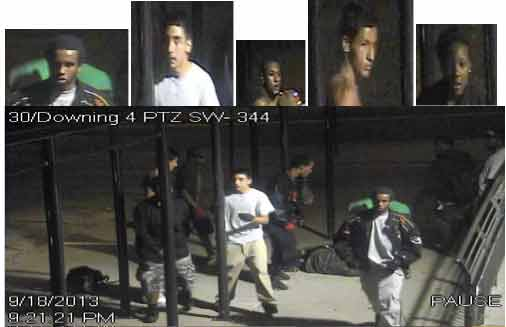 5 suspects wanted in beating at light rail station at 30th and Downing in Denver. Courtesy: Metro Denver Crime Stoppers