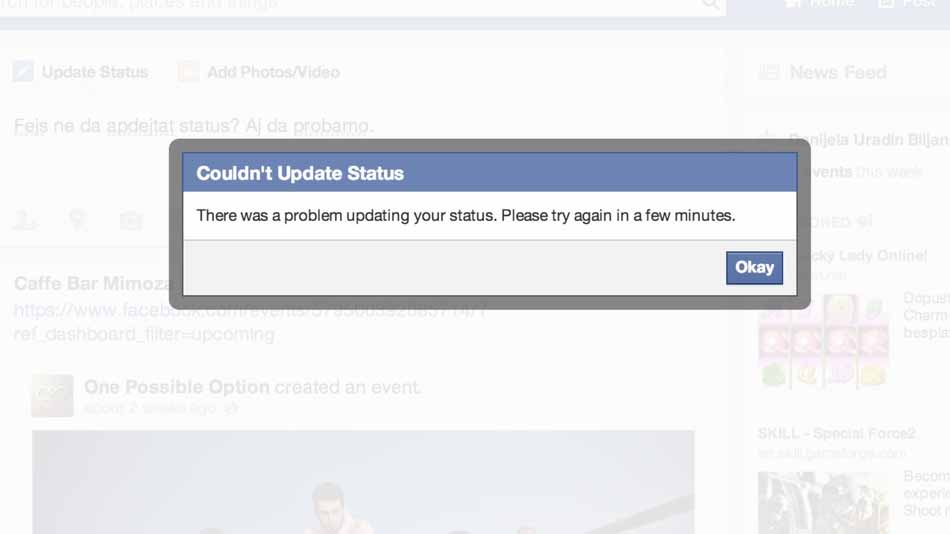 This error message was being given to users who tired to update their Facebook statuses on the morning of Oct. 21, 2013. (Photo: Facebook)