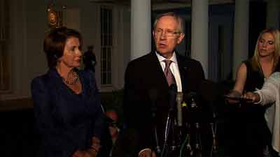 Senators Harry Reid and Nancy Pelosi after White House meeting. Oct. 2, 2013. Photo: CNN