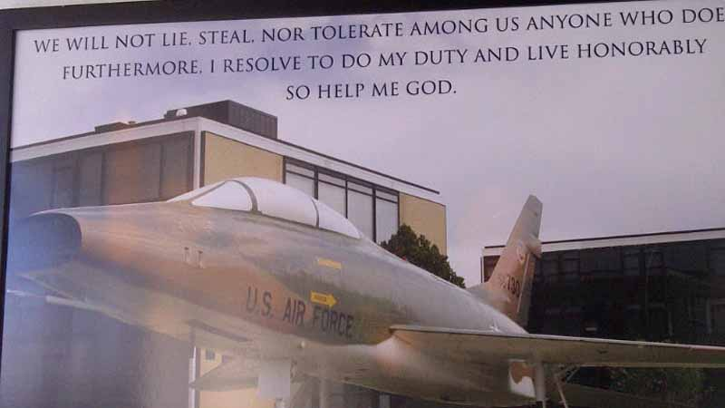 This poster of the Air Force's honor oath was removed from the military institution's academy in Colorado Springs after complaints about the word 'God' being included in the oath. (Photo: Air Force Academy)