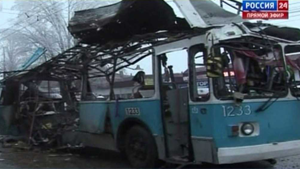 An explosion on this Russian trolleybus killed at least 14 people in Volgograd on Dec. 30, 2013, authorities say (Photo: CNN)