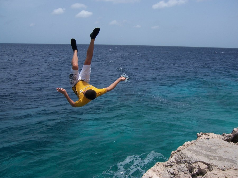 """Lori Lite, founder of Stress Free Kids, encourages her teens to use visualization techniques to relax. Here, her son is seen jumping off a cliff, the result, she says, of """"visualizing and affirming that 'I can do it' and expecting and visualizing a positive outcome."""""""