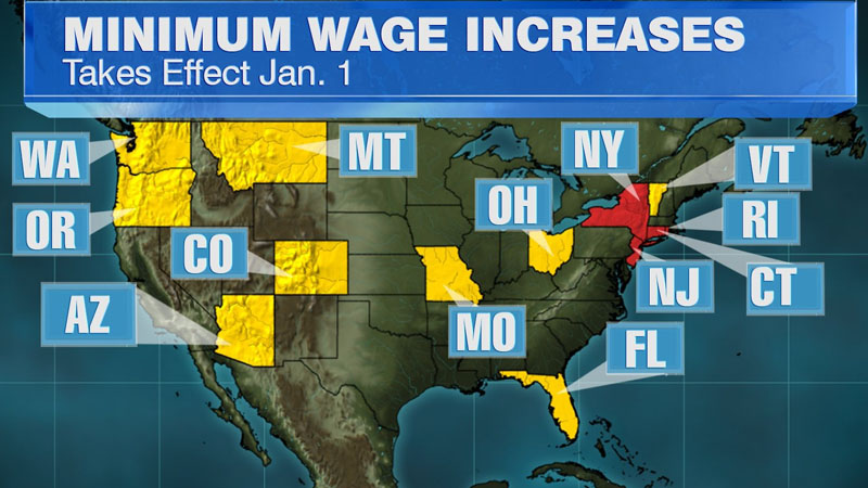 Starting January 1, 2014, minimum wage workers in 13 states and four cities will see higher paychecks. While most of the increases amount to less than 15 cents per hour, workers in places like New Jersey, Connecticut, New York and Rhode Island will see a bigger bump.