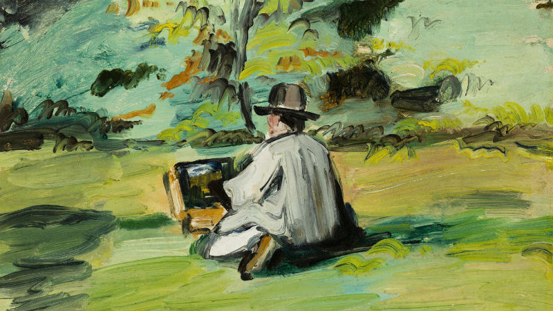 Paul Cézanne, A Painter at Work, about 1874-75. Oil paint on panel; 9-1/2 x 13-1/2 in. Bequest of Frederic C. Hamilton.