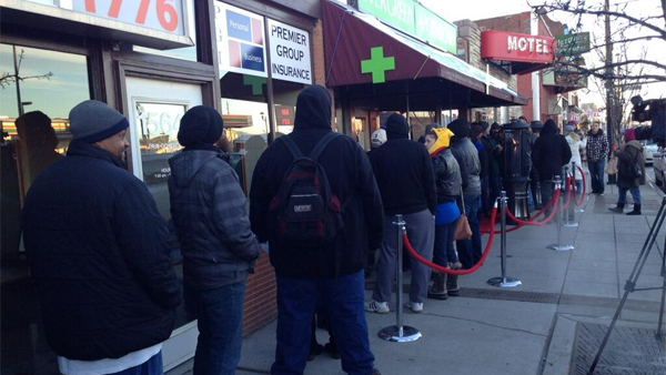 Lines were once again large outside Evergreen Apothecary on Jan. 2, 2013, for the second day of legal recreational marijuana sales in Denver. Many had no luck on Jan. 1. (Photo: Twitter / Chris Jose)