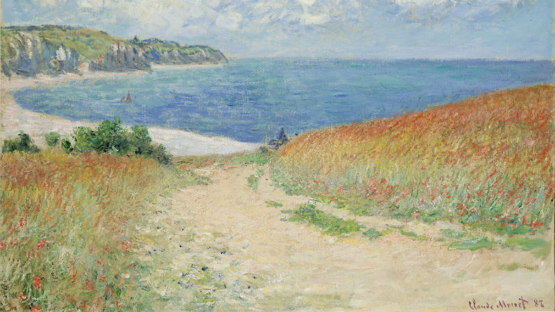 Claude Monet, Path in the Wheat Fields at Pourville, 1882. Oil on canvas; 23 x 30-3/4 in. Bequest of Frederic C. Hamilton.