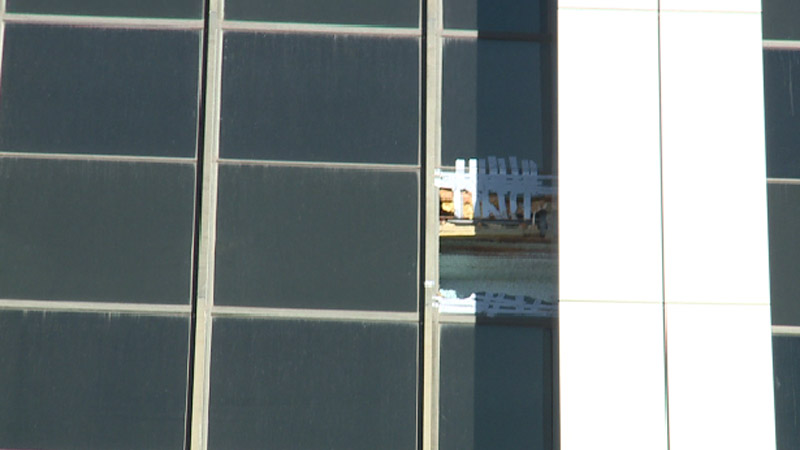 High winds pushed out a window at a downtown Denver skyscraper.