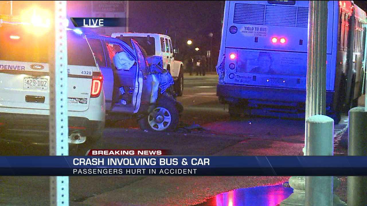 Bus, SUV crash at Colfax and Josephine in Denver
