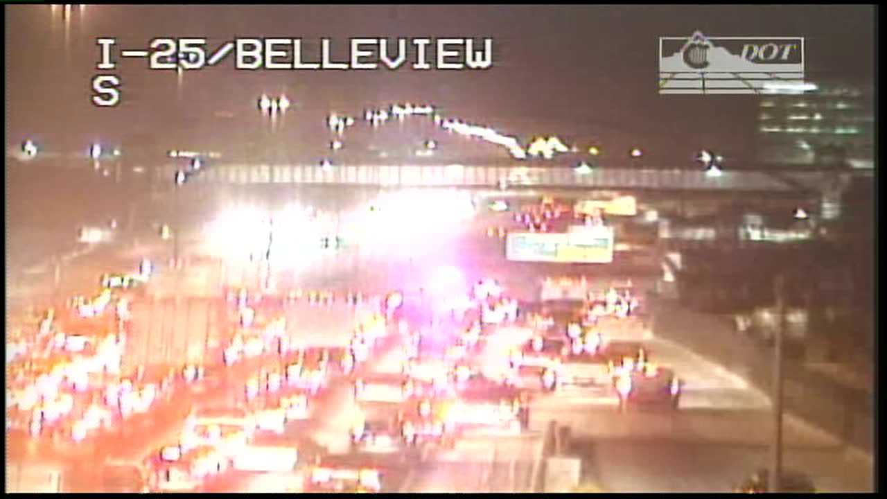Traffic at standstill on SB I-25 near Belleview
