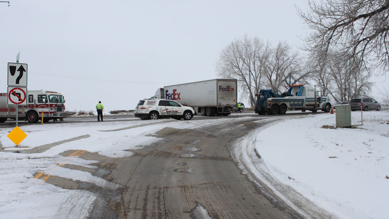 Three victims sustained only minor injuries after their vehicle collided with a semi on Highway 119 on Feb. 10, 2014, said Longmont police. (Photo: LPD)
