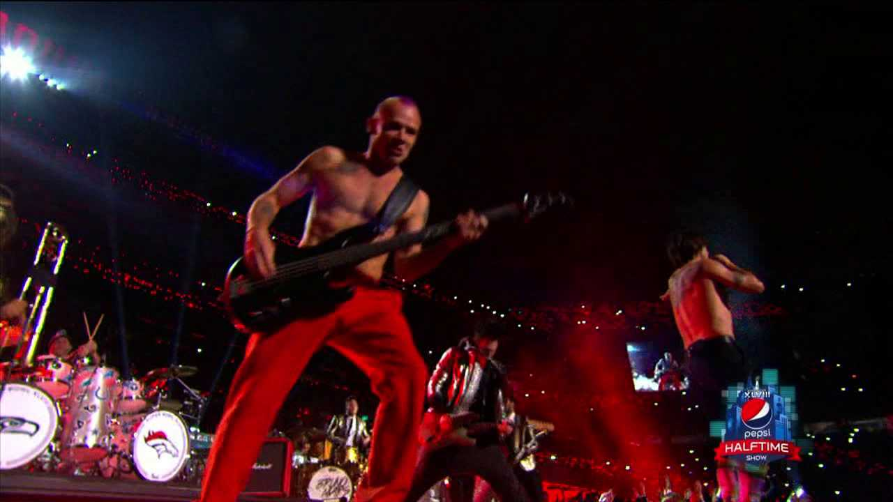 Red Hot Chili Peppers during Super Bowl halftime performance. Courtsey: FOX