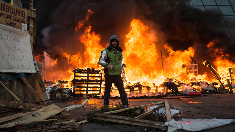 Protests turned violent on the central streets of Ukraine's capital, Kiev, on Tuesday, February 18, 2014.
