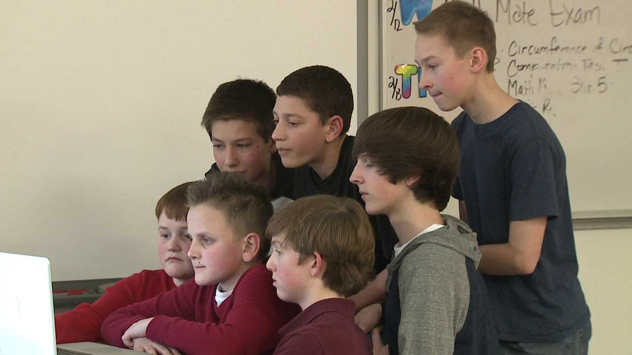 Students at Ranch View Middle School in Highlands Ranch make presentation about their app which has gained national recognition