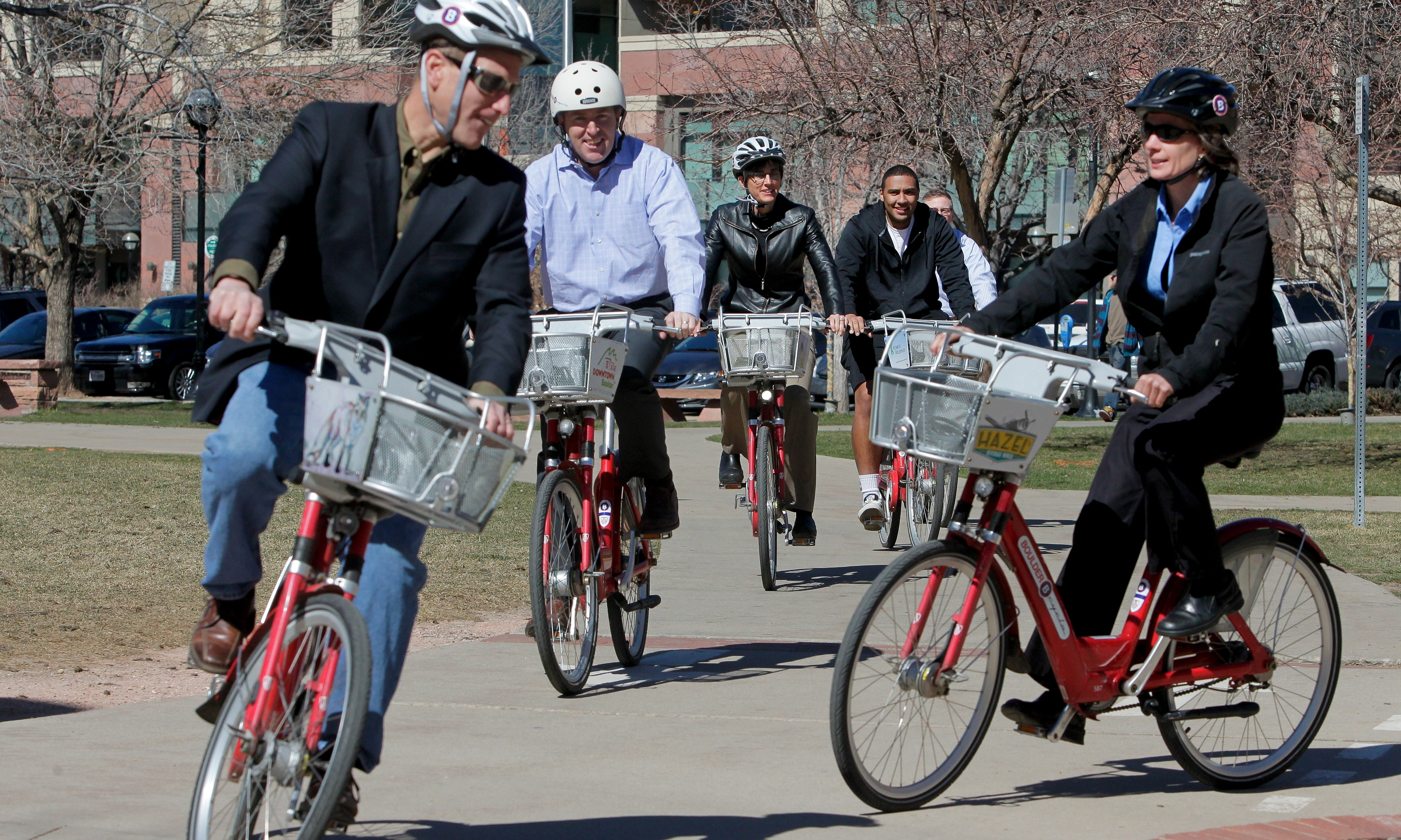 James Waddell, executive director, Boulder B-cycle announce expansion plans for Boulder B-cycle in 2014, including increased focus on providing greater access to college students at the Boulder B-cycle Municipal Building Station in Boulder, CO., Wednesday, March 19, 2014. (Photo by Barry Gutierrez)