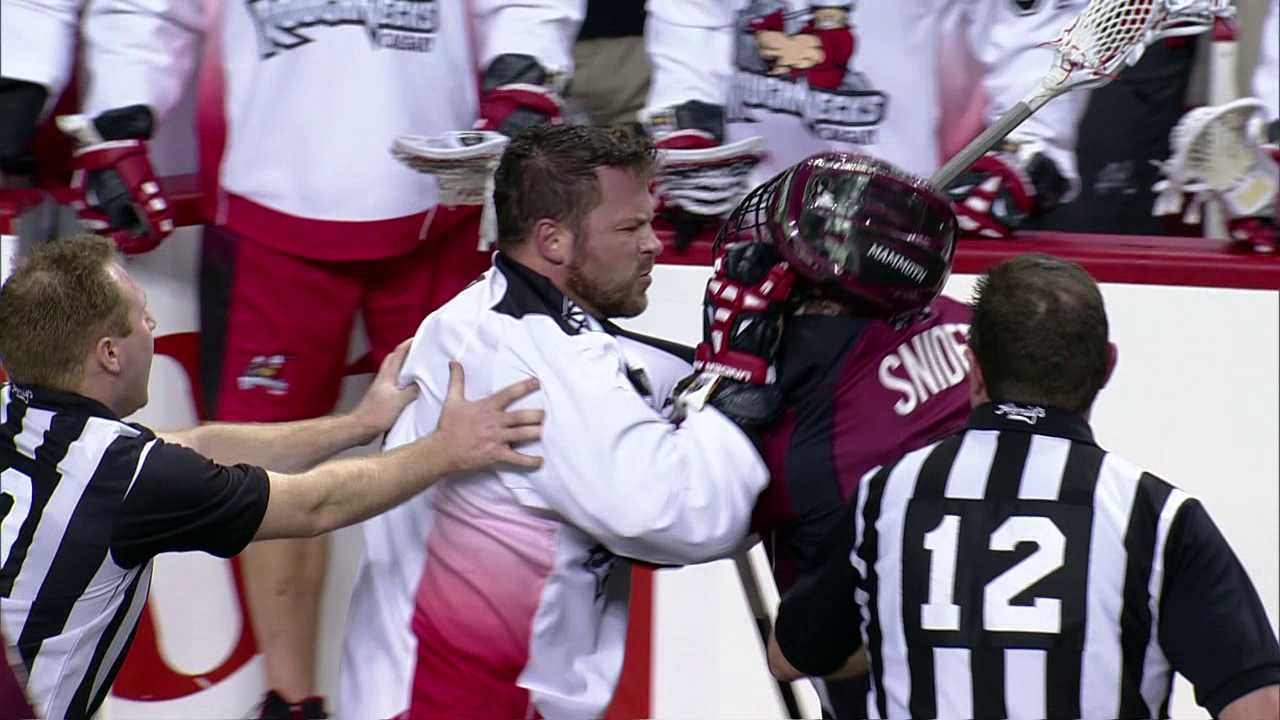 Bob and Geoff Snider battle each other in Colorado/Calgary pro lacrosse games
